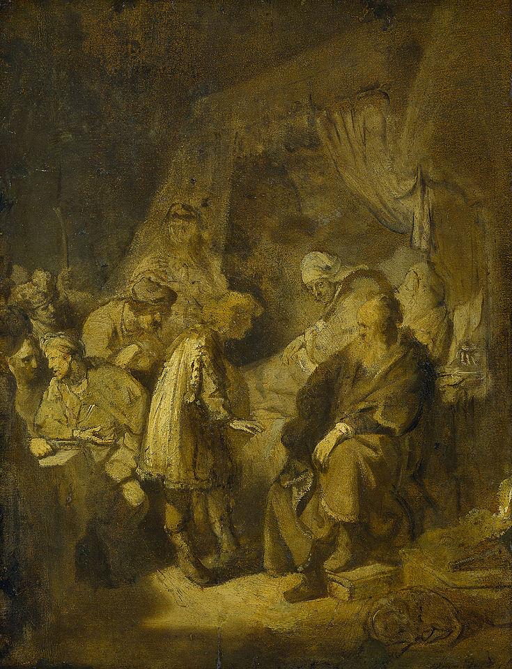 Йосеф пересказывает свои сны Йаакову. Рембрандт, 1633