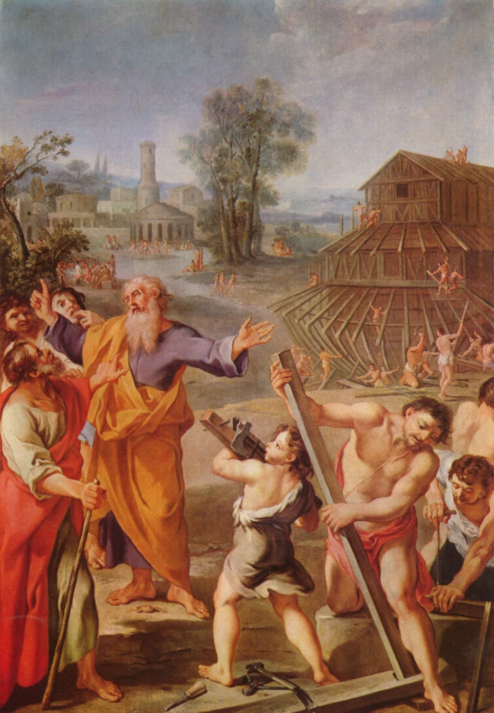 Строительство Ноева ковчега. Анонимный французский мастер, ок. 1675
