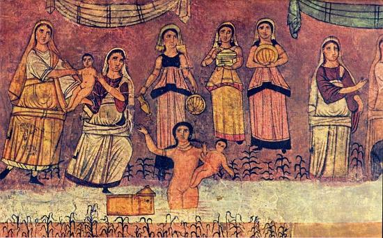Фараон приказал повитухам убивать еврейских младенцев мужского пола. Фреска из синагоги античного города Дура-Европос